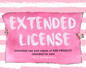extended license granting unlimited use and copies of end-product made out of 1 listing from watercolorpond shop