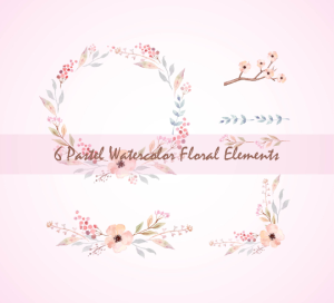6 pastel watercolor floral elements, pastel wreath, floral bouquets, floral text divider, watercolor floral elements set, floral clip art