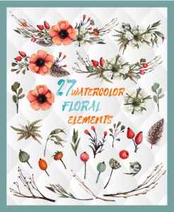 27 watercolor floral elements, watercolor invitation elements, diy watercolor bouquets, watercolor flowers, boho, vintage flowers, clipart