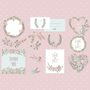 vintage floral elements, floral invitation elements, pastel floral elements, floral clip art, vintage flower designs, vintage floral set