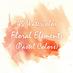45 watercolor floral elements, watercolor invitation elements, diy watercolor bouquets, watercolor flowers, boho, vintage flowers, clipart