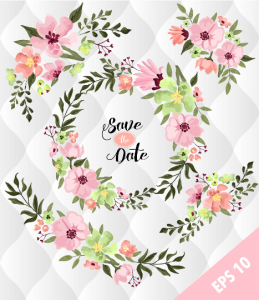 spring floral floral elements, watercolor flower designs, spring flowers clip art, floral invitations elements and clip art, scrapbooking