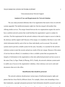Telecommunications Network Support 3 pages | Documents and Forms | Research Papers