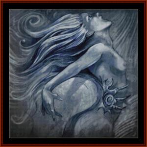 Mermaid in Blue - Fantasy cross stitch pattern by Cross Stitch Collectibles | Crafting | Cross-Stitch | Wall Hangings