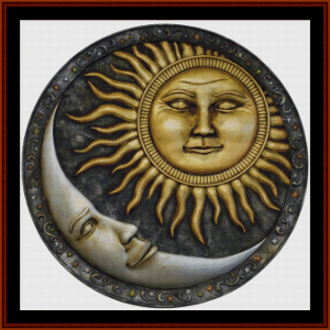 Sun and Moon Circle - Fantasy cross stitch pattern by Cross Stitch Collectibles | Crafting | Cross-Stitch | Wall Hangings