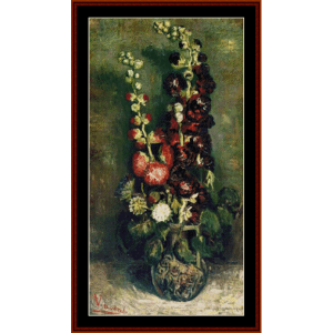 vase of hollyhocks - van gogh cross stitch pattern by cross stitch collectibles