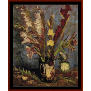 vase with gladioli - van gogh cross stitch pattern by cross stitch collectibles