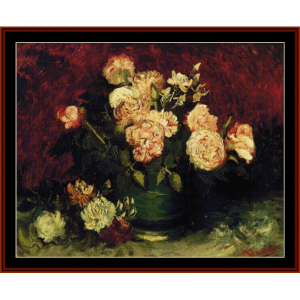 bowl with peonies and roses - van gogh cross stitch pattern by cross stitch collectibles