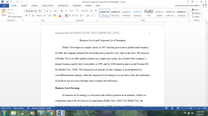 Business-Level and Corporate-Level Strategies | Documents and Forms | Research Papers