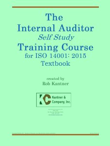 internal auditor self study training course - iso 14001:2015