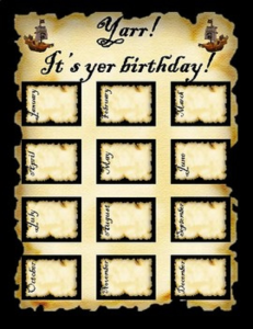 Pirate Birthday Chart | Other Files | Patterns and Templates