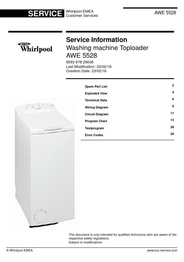 Whirlpool AWE 5528 Washing Machine Service Manual | eBooks | Technical