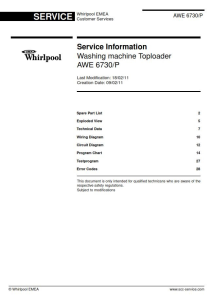 Whirlpool AWE 6730 6730-P Washing Machine Service Manual | eBooks | Technical