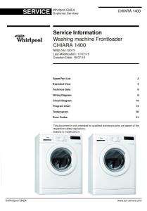 Whirlpool CHIARA 1400 Washing Machine Service Manual | eBooks | Technical