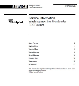 Whirlpool FSCR 80421 FSCR80421 Service Manual | eBooks | Technical