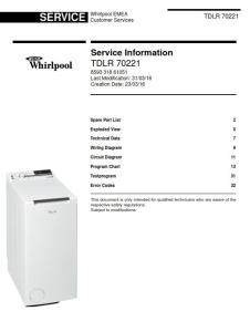 Whirlpool TDLR 70221 Washing Machine Service Manual | eBooks | Technical