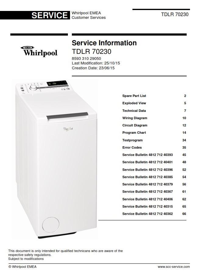 Whirlpool TDLR 70230 Washing Machine Service Manual | eBooks | Technical