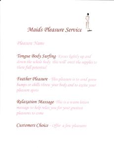 maids fantasy fun chart