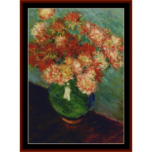 vase with chrysanthemums ii - monet cross stitch pattern by cross stitch collectibles