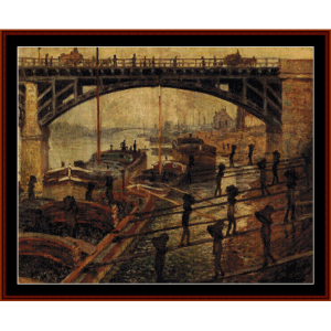 coal dockers - monet cross stitch pattern by cross stitch collectibles