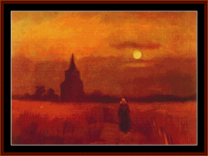 old tower in the fields, 1884 - van gogh cross stitch pattern by cross stitch collectibles