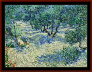 olive orchard, 1889 - van gogh cross stitch pattern by cross stitch collectibles