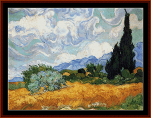 wheat field with cypresses ii - van gogh cross stitch pattern by cross stitch collectibles