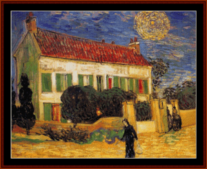 white house at night, 1890- van gogh cross stitch pattern by cross stitch collectibles