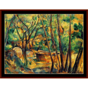 cistern under trees - cezanne cross stitch pattern by cross stitch collectibles