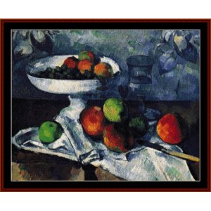 still life with apples - cezanne cross stitch pattern by cross stitch collectibles