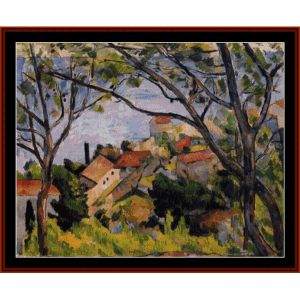 view through the trees - cezanne cross stitch pattern by cross stitch collectibles