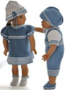 dollknittingpattern 0175d liss & lucas - dress, pants, hat, shoes, sweater, pants, cap and shoes-(english)