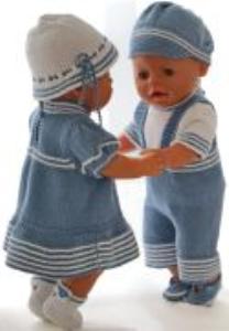 dollknittingpatterns 0175d liss & lucas - kleid, unterhose, hut und schuhe für liss pulli mit kurzen ärmeln, kurze hose, mütze und schuhe für lucas-(deutsch)