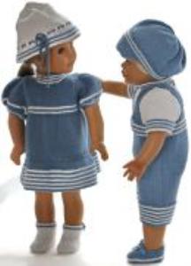 dollknittingpatterns0175d liss & lucas - robe, culotte, chapeau, chaussures, pull à  manches courtes, short et casquette-(francais)