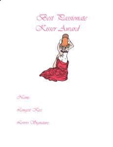 best passionate kisser award