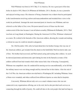 walt whitman 4 page paper