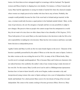 10 page argumentative paper in MLA format on the novel Mary Lavelle by Katie O'brien | Documents and Forms | Research Papers