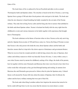 Gates of fire by Steven Pressfield  2 page book report | Documents and Forms | Research Papers