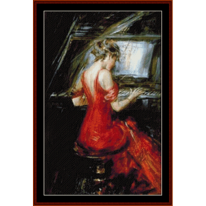 woman in red - boldini cross stitch pattern by cross stitch collectibles