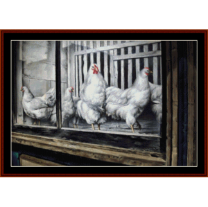 chickens - h.c. carter cross stitch pattern by cross stitch collectibles