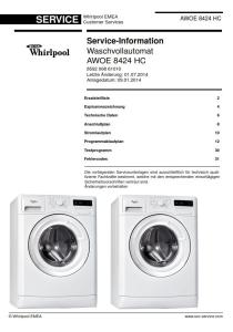 Whirlpool AWOE 8424 HC Waschmaschine Serviceanleitung | eBooks | Technical