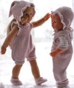 DollKnittingPatterns 0176D RUNA - Kort soldrakt, overall, kort-ermet genser, lue, hårbånd og sokker-(Norsk) | Crafting | Knitting | Other