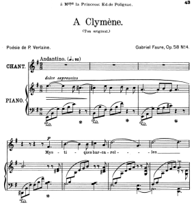 A Clymène Op.58 No.4, High Voice in E Minor, G. Fauré. For Soprano or Tenor. Ed. Leduc (A4) | eBooks | Sheet Music