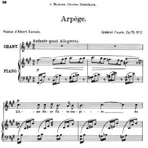 Arpège Op.76 No.2, High Voice in F-Sharp minor, G. Fauré. For Soprano or Tenor. Ed. Leduc (A4) | eBooks | Sheet Music