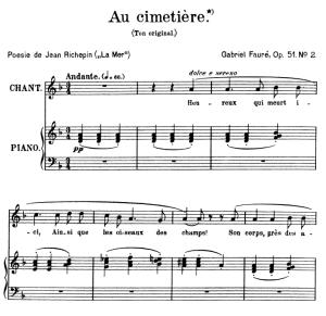 Au cimetière Op.51 No.2, High Voice in D minor,  G. Fauré. For Soprano or Tenor. Ed. Leduc (A4) | eBooks | Sheet Music