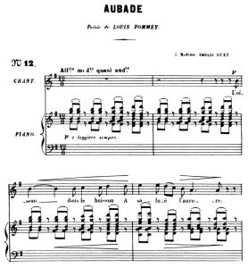 Aubade Op.6 No 1, High Voice in G Major, G. Fauré. For Soprano or Tenor. Ed. Leduc (A4)   eBooks   Sheet Music