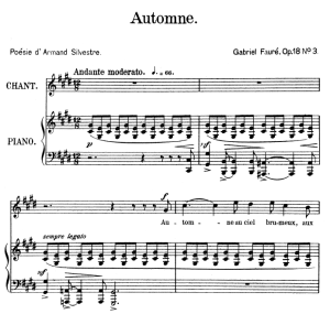 Automne Op.18 No.3, High Voice in D-Sharp minor, G. Fauré, Ed. Leduc (A4) | eBooks | Sheet Music