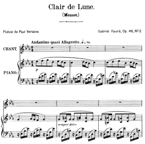 Clair de lune Op.46 No.2, High Voice in C minor, G. Fauré. For Soprano or Tenor. Ed. Leduc (A4) | eBooks | Sheet Music