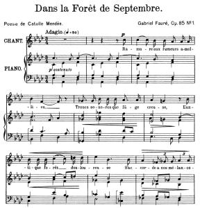 Dans la forêt de septembre Op.85 No.1, High Voice in A-Flat Major, G. Fauré. For Soprano or Tenor. Ed. Leduc (A4) | eBooks | Sheet Music
