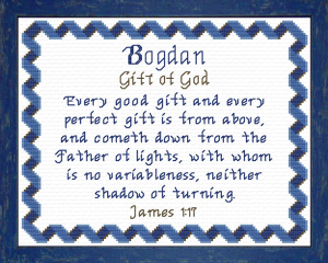 Name Blessings - Bogdan | Crafting | Cross-Stitch | Religious